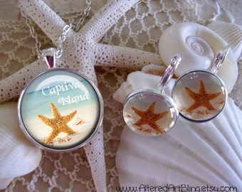 Custom Beach Destination jewelry, custom pendants and earrings, created especially for you and your favorite beach desitnation