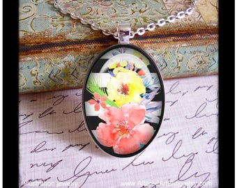 Black and white floral #3 original art pendant and matching gift box, birthday,Mother's day pendants, gifts for mom, Spring, flowers