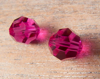 Contemporary Swarovski Article 5000 Round Faceted Beads  - 10mm - Fuchsia Pink - Lot of 2