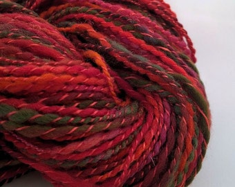 SILK POPPIES, handspun wool and silk chunky yarn, 100 yds/91 m, 1.5 oz/44 g