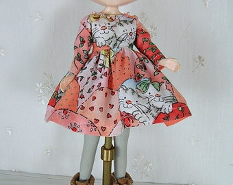 Blythe Doll Dress,  Blythe Dress. Long Sleeves, Cats