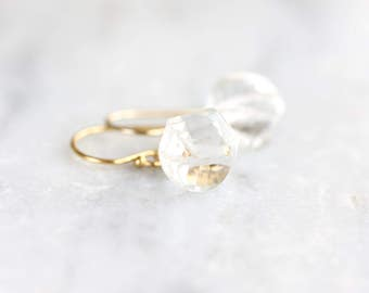 Crystal quartz earrings - gold drop earrings with spiral cut crystal quartz rondelles - 14k gold filled - April birthstone