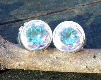 20% OFF Today Opalescent Topaz Studs... 8mm topaz stelring silver post earrings topaz posts topaz earrings rainbow earrings prism earrings