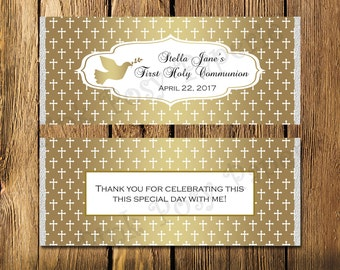 Printable Gold First Communion Large Candy Bar Wrappers