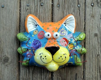 Original Handmade Ceramic Cat mask with Cat Eyes, Ceramic Cat, Cat Mask, Ceramic Animals, Cat Art by Dottie Dracos, 411174