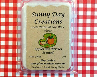 Apples and Berries Scented 100% Natural Soy Wax Break Away Tarts 3 oz