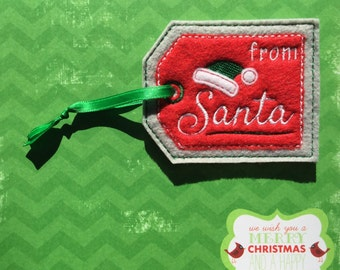 From Santa Gift Tag, Christmas Tag, Embroidered Gift Tag
