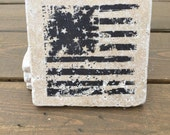 Vintage American flag Natural Stone Coasters. Set of 4. Americana, USA, patriotic