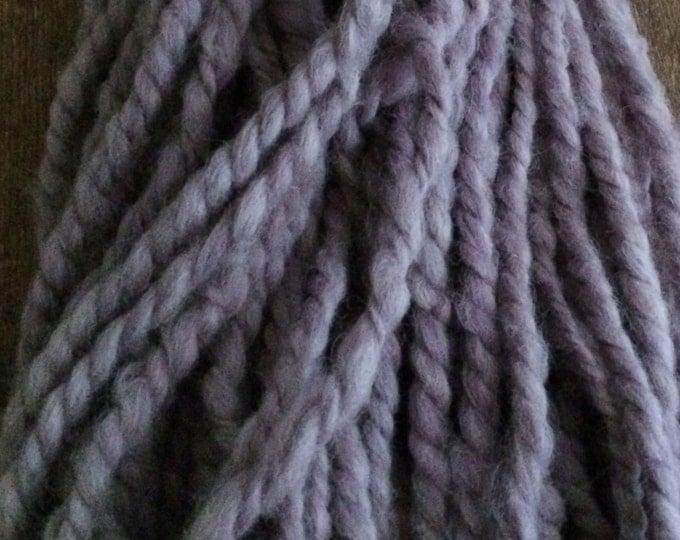 Logwood naturally dyed jumbo art yarn, 60 yards, pudgy lavender two ply yarn, jumbo yarn, chunky yarn, purple handspun art