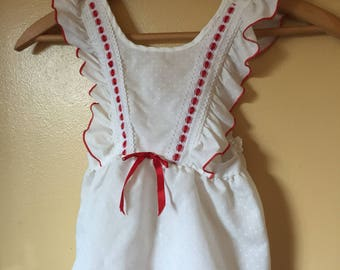 Vtg 80s red and white ruffle n polka dot pinafore top 3/4 years