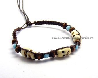 Mixed beads waxed cord bracelet/anklet - Free size