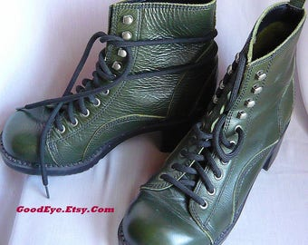 Womens Dark Green Leather GRANNY Ankle Boots / Size 8 m Eur 38 .5 / Oxford Laceup Grunge Goth COMBAT / ESPRIT 90s Chunky Heel Shoes
