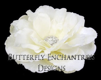 SALE  Ivory Audrina Bridal Hair Flower Clip with Clear Crystal Rhinestone