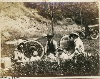 vintage photo 1929 Japanese Flapper ERa Family Children Picnic by Car