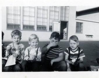 vintage photo 1957 Little School Boys Lunch Break One Covers Face