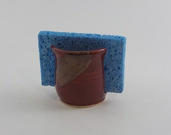 Stoneware Sponge Holder - Ceramic Sponge Dryer Bowl - Kitchen Essential - Small Cup Dispenser - Ready to Ship -  Brick Red and Jasper h462