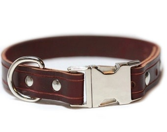 Personalized Leather Dog Collar, Engraved Leather optional - Leather Quick Release Collar