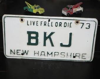 Vintage 1973 New Hampshire License plate Live Free or Die Motto Vanity