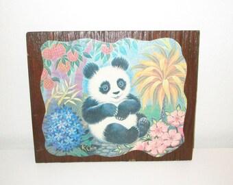 Panda Wall Art - Vintage 1970's Decoupage of Kitsch Panda Bear Print on Wood Panel - Ready to Hang - Kids Childrens Room Decor
