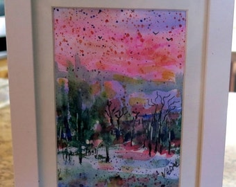 Merry Christmas Sale 15% original watercolor painting-  Snowy Sunset   -  Vadal