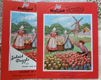 1950 Vintage Puzzle HOLLAND..Inlaid..Children of other lands