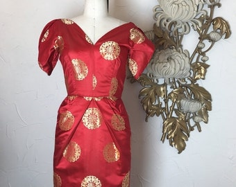 Fall sale 1950s dress red dress silk dress size small asian dress vintage dress wiggle dress rockabilly dress