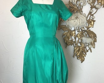 Fall sale 1950s dress green dress wiggle dress size medium rockabilly dress 50s dress cocktail dress