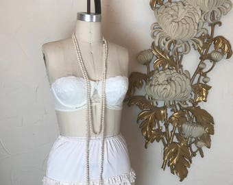1960s bra strapless bra vintage bra padded bra pin up bra 34 b white bra fetish bra lace bra pointed bra