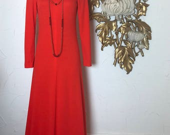 1970s dress orange dress maxi dress size medium turtleneck dress disco dress cowl neck dress