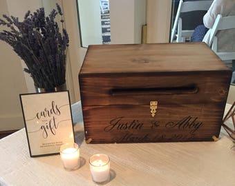 Wood Wedding Card Box with Latch | Wedding Money Box | Wedding Card Box | Wedding Card Holder | Rustic Cards Box with Lid - wood box