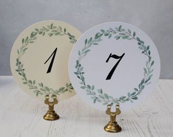 Wedding Table Numbers Cards - Round Wedding Table Numbers -  Round  Water Color Table Numbers - Green Wreath Table Number