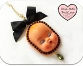 SALE- Big Vintage Doll Head Doll Face Necklace Creepy