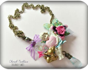 Cherub Necklace with Vintage Deer and Butterfly