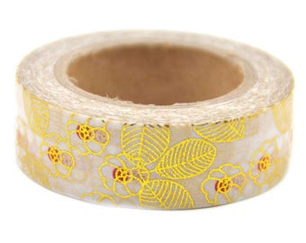 Rose gold washi tape, gold floral washi tape, golden blossom washi tape, gold foil washi tape, gold cherry blossom art tape