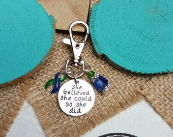 BG-6 IIH Awareness Intracranial Hypertension Keychain Neurofibromatosis AVN Key chain Gift For Her She Believed She Could So She Did Charm