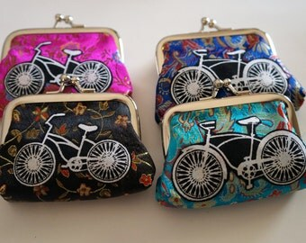 Bike Coin Purse Bicycle Applique Kiss Clasp Change