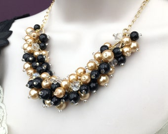 Chunky Pearl Necklace, Black and Gold Necklace, Bridesmaid Jewelry, Cluster Necklace, Bridesmaid Gift, Bridesmaid Necklace, Black Necklace
