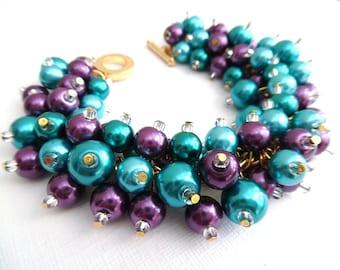 Peacock Colours, Purple Teal Bracelet, Peacock Wedding Theme, Chunky Bracelet, Pearl Bead Bracelet, Cluster Bracelet, Bridesmaid Bracelet