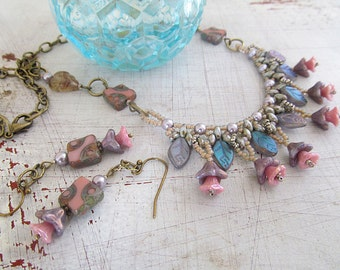 Vintage Brass Necklace, Victorian Necklace, Wedding Necklace with Earrings, Garden Jewelry, Pink Flower Beads