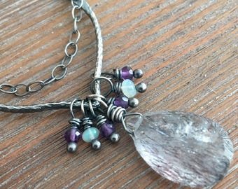 Sterling Silver, Moss Amethyst, and Opal Necklace