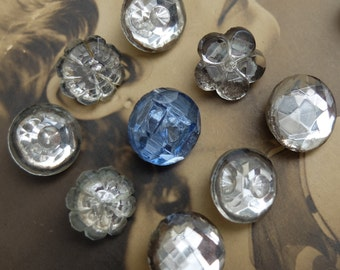 Vintage Two Part Glass Buttons 9 Czechoslovakia