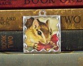 Tasha Tudor Chipmunk Pendant - Chipmunk with Cherries Charm - Tasha Tudor Book Jewelry - Soldered Glass Pendant with Vintage Illustration