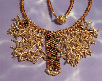 Autumn Fringe Beaded Necklace