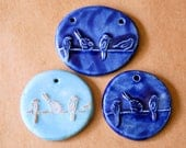3 Handmade Ceramic Pendants - Bird on a Wire Pendants - Stoneware beads in Summer Blues - Large Bird Focals for artisan boho creations