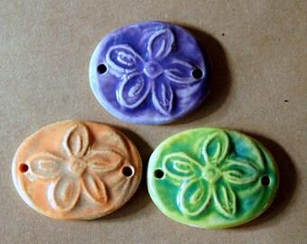 3 Handmade Ceramic Beads -  Flower Bracelet Beads - Hippie Flower Links - Handmade Jewelry Supplies - Great for Hemp Bracelets