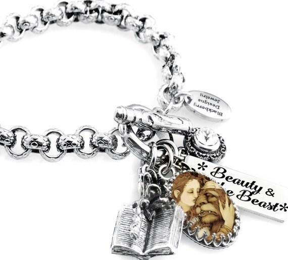 Beauty and the Beast Bracelet, Beauty and the Beast Charm, Beauty and the Beast Jewelry, Princess Charm Bracelet