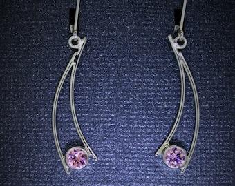 GemDrops Earrings, Pink Ice Earrings, Sterling silver with pink CZ earrings