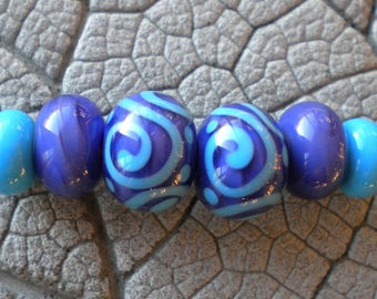 Purple Turquoise Lampwork Beads by Cherie Sra R114 Earring pair Flameworked Glass Beads Purple Encased Bead Turquoise Scroll Earring Pair