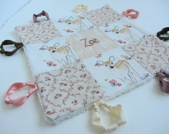 Baby Lovey Girl Blanket with Custom Hand Embroidery Name Or Initial ~ Choice of Backing Fabric ~Woodland Floral Fawn ~Rose Blush Peach White