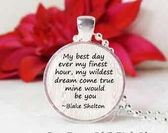 Round Medium Glass Bubble Pendant Necklace- Mine Would Be You- Blake Shelton Song Lyrics